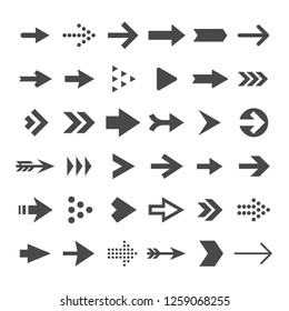 Arrow button icons. Right arrowhead signs. Rewind and next symbols