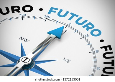 Arrow from a compass points towards Spanish word Futuro (future) (3d rendering)