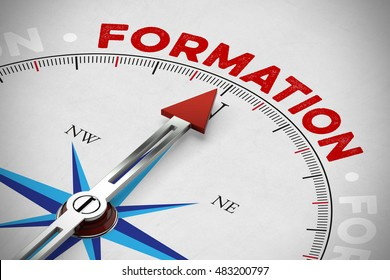"Arrow of compass showing french word ""Formation"" (apprenticeship) (3D Rendering)"