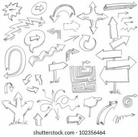 Arrow Doodles. Hand-drawn. Raster version of vector image