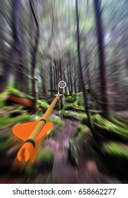 Arrow in focus flying past trees to an archery target in the background, part photo, part 3D rendering