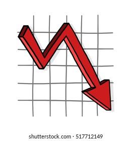 Arrow Graph Going Down Illustration Downward Stock Illustration 517712149