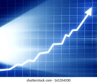 arrow graph going up on a dark blue background