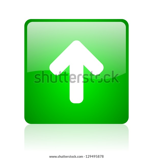 arrow up green square web icon on white background