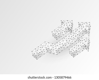 Arrow growth, success, team work sign. Three arrow goes up wireframe digital 3d illustration. Low poly colaboration concept with lines, dots on white background. Raster origami style polygonal RGB