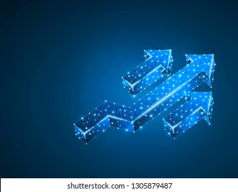 Arrow growth, success, team work sign. Three arrow goes up wireframe digital 3d illustration. Low poly colaboration concept with lines, dots on blue background. Raster neon polygonal RGB color