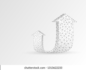 Arrow growth, success, team work sign. Two arrow goes up wireframe digital 3d illustration. Low poly colaboration concept with lines, dots on white background. Raster origami style polygonal RGB color
