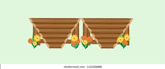 Arrow head palisade cross-country horse show jump with natural log rails in a v-pattern and  bright yellow and orange flowers decorating the ground line.