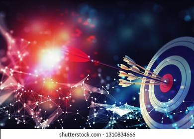 Arrow hit the center of target on abstract background with network effects. Business target achievement concept. 3D Rendering
