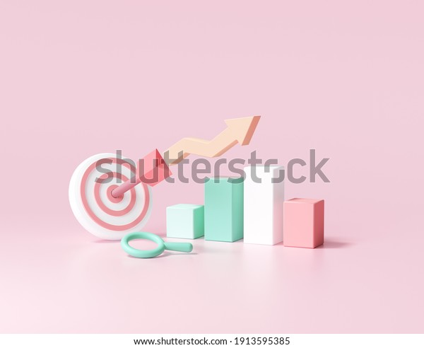 Arrow hit the center of target and stock chart. Business target achievement concept.3d render illustration