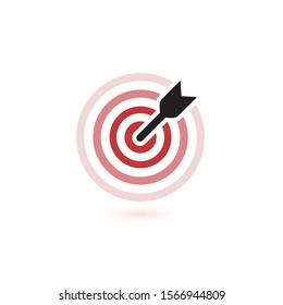 Arrow hit target icons. flat winner symbol template. Modern emblem idea. Concept design for business. Isolated illustration on white background.