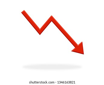 Arrow icon with red color showing down - Symbol for Crisis, Stock or finance