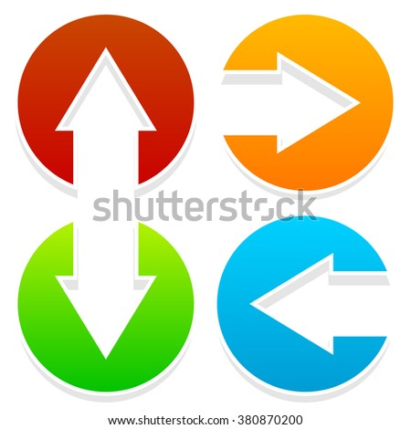 Arrow Icons Pointing Left Right Down Stock Illustration 380870200