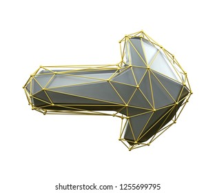 Arrow made in low poly style silver color isolated on white background. 3d rendering