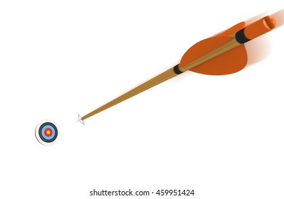 Arrow with motion blur flying toward an archery target at high speed, 3D rendering