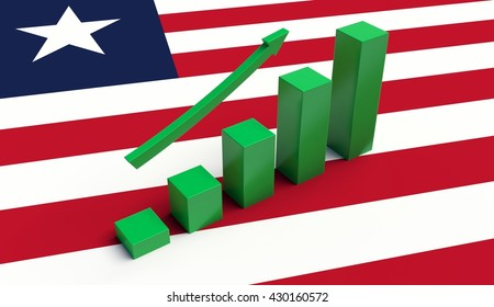 Arrow pointing up on a Flag of Liberia. 3D illustration