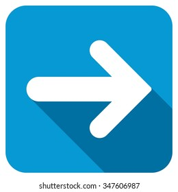 Arrow right longshadow icon. Style is a blue rounded square button with a white rounded symbol with long shadow.