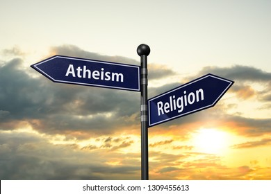 arrow road signs of words atheism and religion on the sunset sky. 3D illustration
