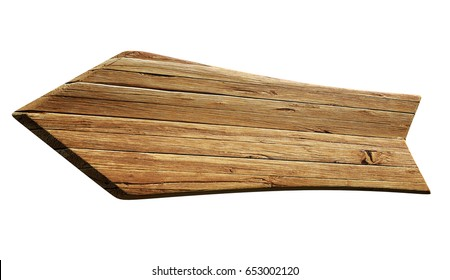 Arrow shaped advertising sign board background with wood texture isolated on white, 3D rendering