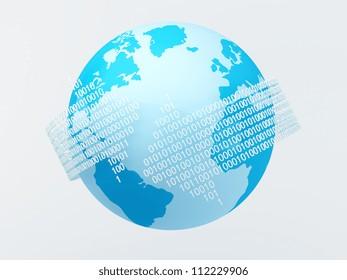 Arrow shaped binary codes flow around blue globe