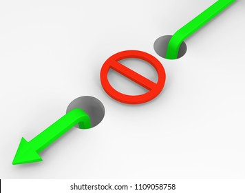 Arrow symbol off limits restriction loophole bypass, 3d illustration, horizontal, over white