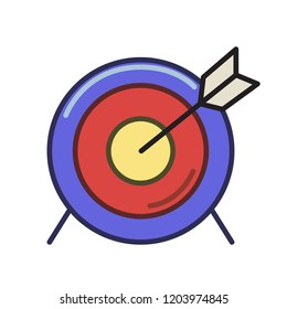 Arrow target icon. Line colored flat illustration. Isolated on white background. Raster version.