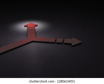 Arrow turning to the right. It implies the choice of course.  3D illustration. Dark background. Blue Arrow.