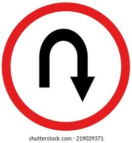 arrow u turn sign board traffic