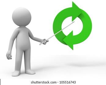 Arrow/A man is explaining the arrow