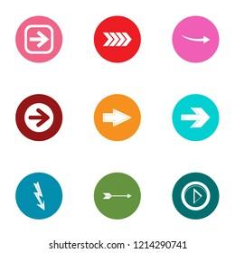 Arrowhead icons set. Flat set of 9 arrowhead icons for web isolated on white background