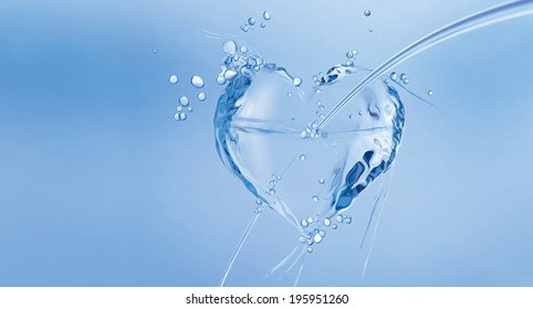 An arrow-pierced heart made of water floating in blue water.