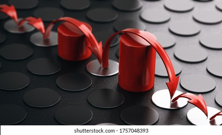 Arrows bouncing over red obstacles. Black background. Concept of overcoming barriers and resilience. 3D illustration.