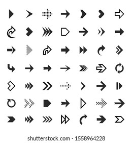 Arrows collection. Black arrow direction signs forward and down for navigation or web download button isolated narrow, right and recycle arrowhead symbols set