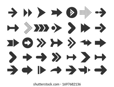 Arrows collection. Modern graphic direction signs computer screen curves arrows set