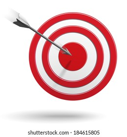 Arrows flying to the center of the target - success business concept. Raster version illustration.
