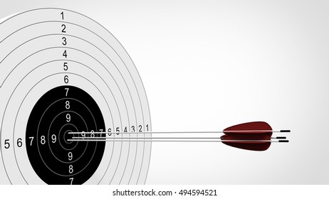 Arrows focus to archery target. 3d illustration.