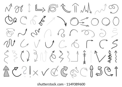 Arrows. Infographic elements on white background. Hand drawn simple symbols. Line art. Set of different pointers