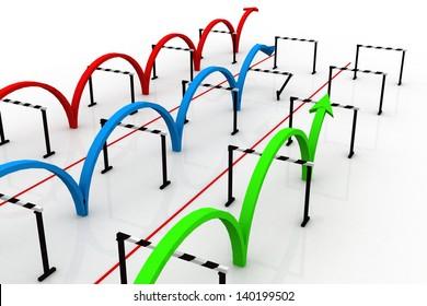 Arrows jumping over hurdles