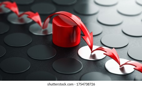 Arrows jumping over a red obstacle, black background. Concept of overcoming barriers and moving forward despite difficulties. 3D illustration.