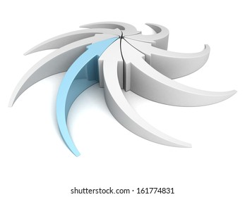 arrows pointing to a center point on white background