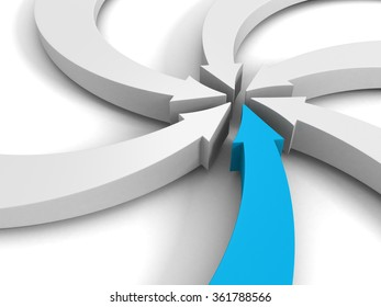 arrows pointing to a center point on white background. 3d render illustration