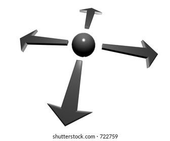 arrows pointing from hub at center