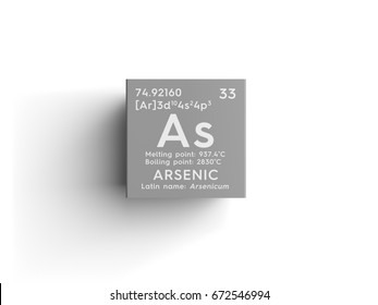 Arsenic. Arsenicum. Metalloids. Chemical Element of Mendeleev's Periodic Table. Arsenic in square cube creative concept.
