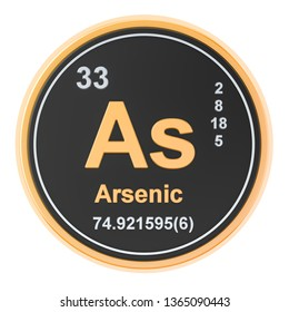 Arsenic As chemical element. 3D rendering isolated on white background