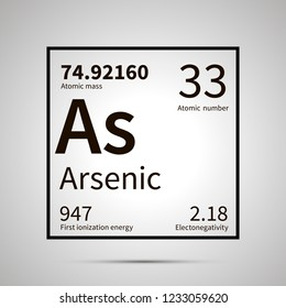 Arsenic chemical element with first ionization energy, atomic mass and electronegativity values ,simple black icon with shadow on gray