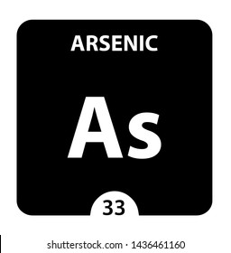 Arsenic As chemical element. Arsenic Sign with atomic number. Chemical 33 element of periodic table. Periodic Table of the Elements with atomic number, weight and Arsenic symbol. Laboratory and
