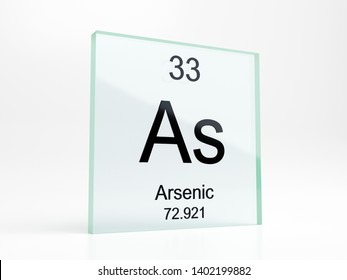 Arsenic element symbol from periodic table on glass icon - realistic 3D render