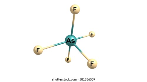 Arsenic pentafluoride is a chemical compound of arsenic and fluorine. The oxidation state of arsenic is 5. 3d illustration