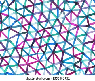 Arstract watercolor grid made of watercolor triangles. Geometric seamless pattern.