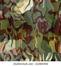 art abstract colorful chaotic waves seamless pattern in Klimt style; background in green, yellow, brown and beige colors
